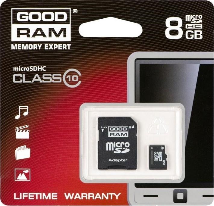 Goodram MicroSDHC 8GB CL10 UHS1 + adaptér