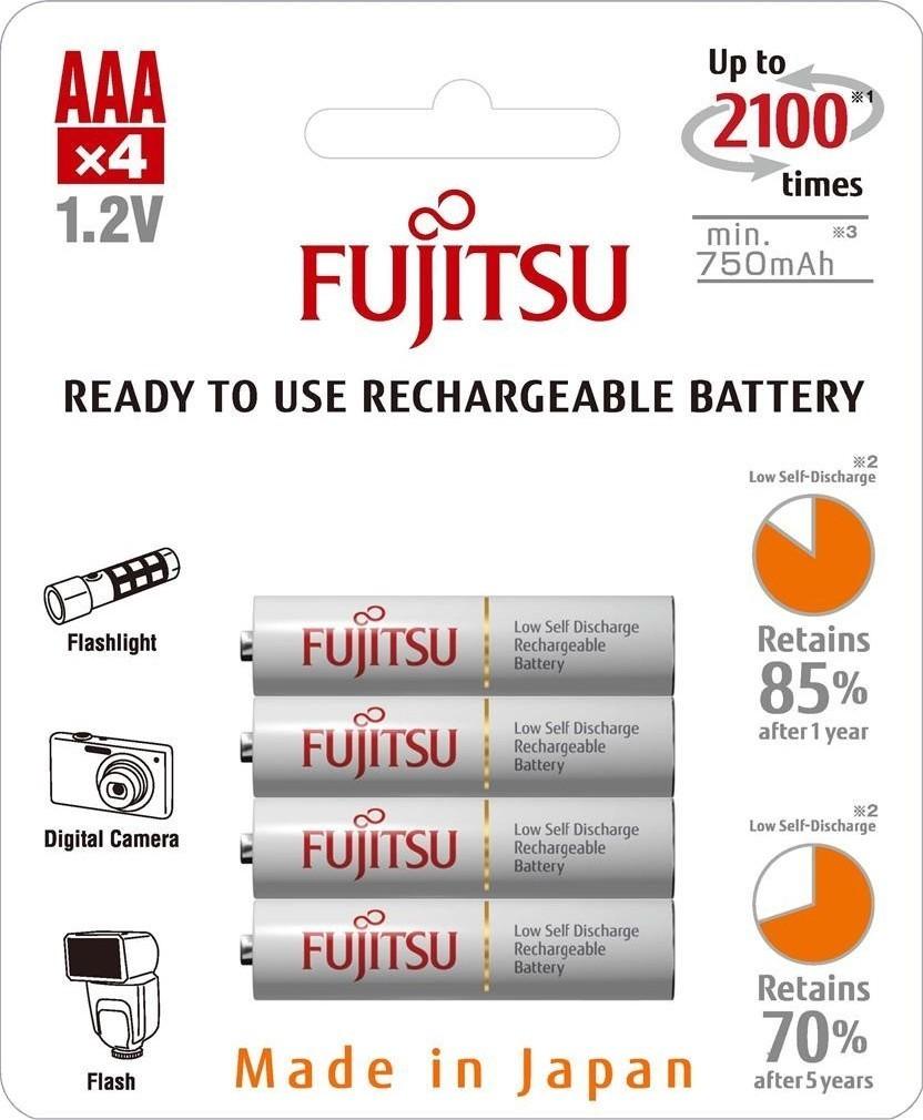 Fujitsu HR03 4BP AAA White NiMH 750mAh
