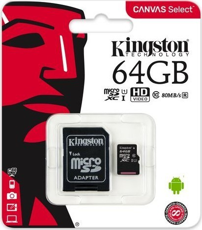 Kingston microSDXC 64GB CL10 UHS-I 80R