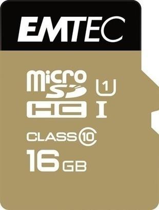 Emtec microSDHC 16GB Gold+CL10 + adaptér