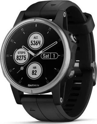 Garmin fenix5S Plus Silver Black Band