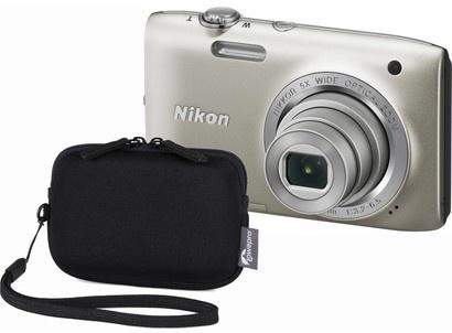 Nikon Coolpix S2800 silver + Varia 10 black