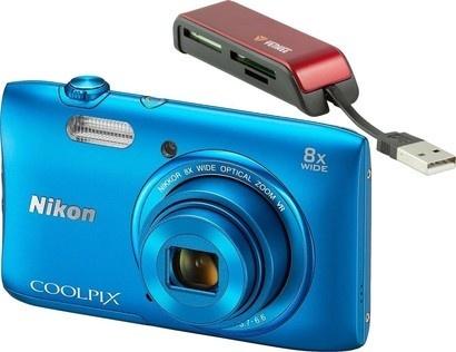 Nikon COOLPIX S3600 Blue + čtečka karet