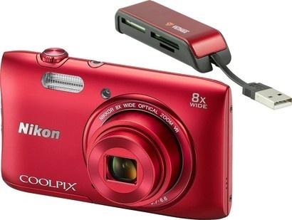 Nikon COOLPIX S3600 Red + čtečka karet