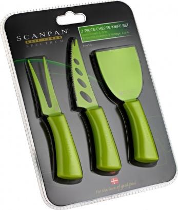 SCANPAN 3 ks nože na sýr zelené