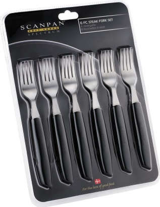 SCANPAN 6ks steak vidlička set black