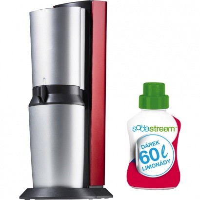 SodaStream CRYSTAL RED/SILVER + 60l limo