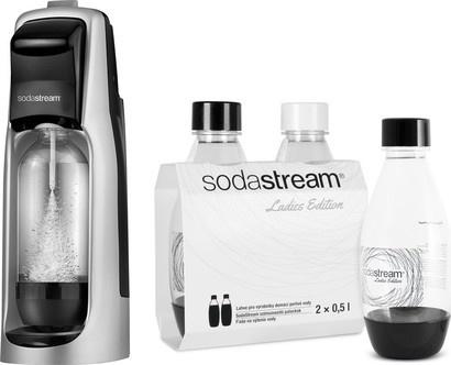 SodaStream Jet Black/Silver + dámské lahve Grass
