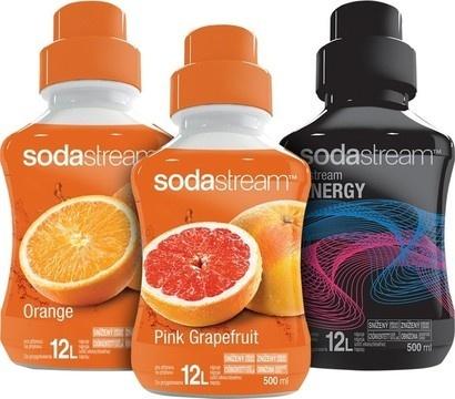 SodaStream Sirup 2+1 Pomeranč, Růžový Grep, Energy 500 ml