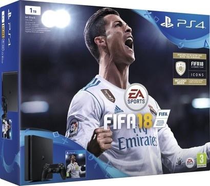 Sony PS4 1TB slim black + FIFA 18 + PS Plus