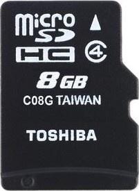 Toshiba MicroSDHC 8GB CL4 + adaptér