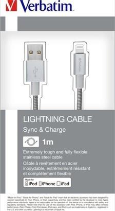 Verbatim Lightning kabel 1m S&CH stříbrný