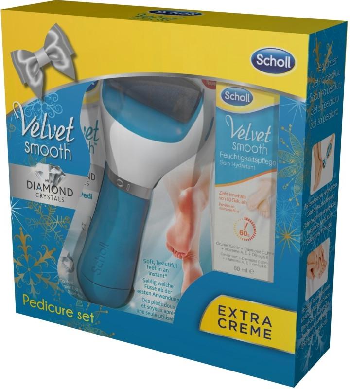 Scholl Elektrický pilník na chodidla modrý + krém