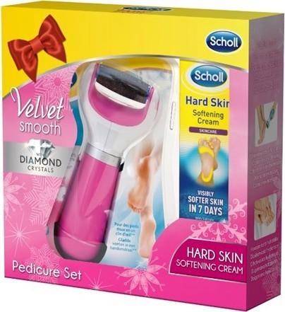 Scholl Elektrický pilník na chodidla růžový + krém