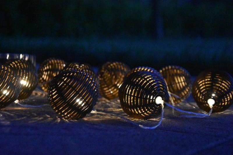 Sharks SA118 10 LED solární osvětlení - rattan koule
