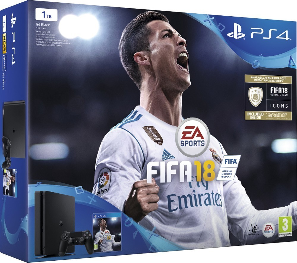 Sony PS4 1TB slim black + FIFA 18 + PS Plus