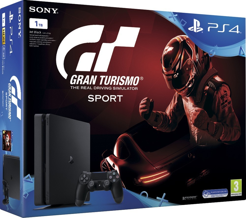 Sony PS4 1TB slim black+Gran Turismo+PS Plus