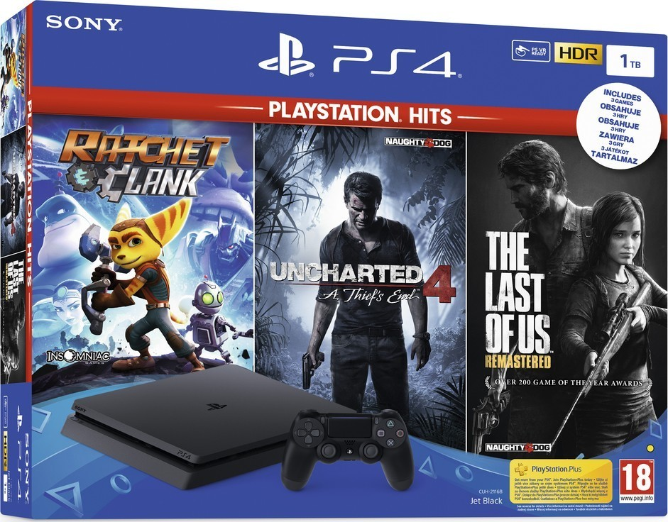 Sony PS4 1TB slim + TLOU + U4 + R&C