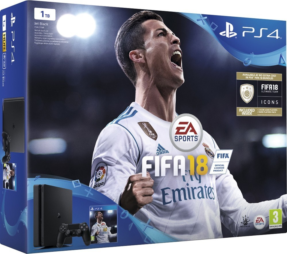 Sony PS4 Pro 1TB black + FIFA 18 + PS Plus